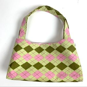Handmade Argyle Spring Green and Pink Purse
